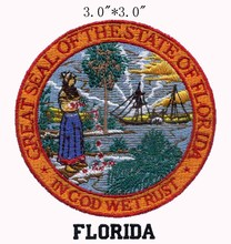 "Florida State Seal embroidery patch 3""diameter shipping/overlook/small boat/extensive"