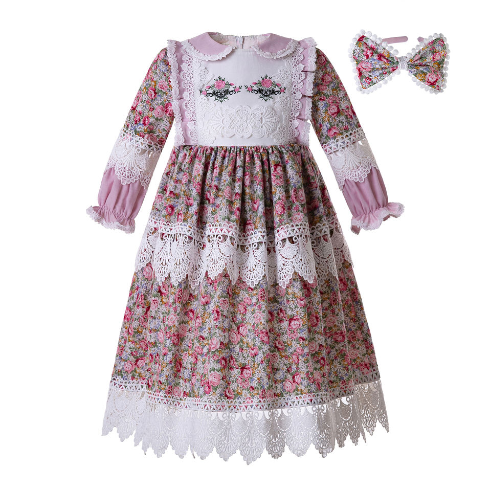 Pettigirl Muslim Doll Collar Long Sleeves Flower Printed Lace Embroidery Party Birthday Boutique B467 Dress Length