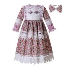 Pettigirlมุสลิมหญิงชุดยาวแขนตุ๊กตาคอดอกไม้พิมพ์ชุดสำหรับสาวชุดวันเกิดบูติกเสื้อผ้าเด็ก