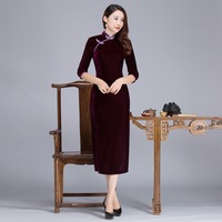 Burgundy Vintage Women Velvet Slim Cheongsam Autumn New Chinese Lady Sexy Dress Mandarin Collar&Handmade Button Qipao S XXXL