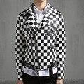 2016 новый мужской кожаный пиджак пальто черный белый плед мужчины slim fit ИСКУССТВЕННАЯ кожа краткое мотоциклетная куртка сценическое шоу костюм Q356