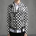 2016 nova jaqueta de couro homens casaco xadrez preto branco masculino slim fit jaqueta de couro PU curto moto show traje Q356
