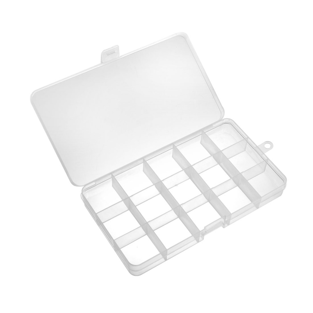 Uxcell 1pcs Fixed 5/6/8/10/12/15/24 Grids Component Storage Box Tool Boxes Electronic Component Containers For Fishhooks White