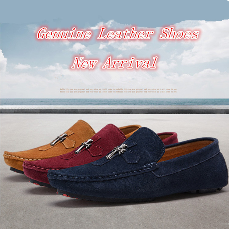 2c445354246 2016 Men s Fashion Shoes Men Loafers Boat Shoes Male Flats Casual Shoe Trend  Slip On Genuine Leather Moccasin Men Loafer Shoes-in Men s Casual Shoes  from ...