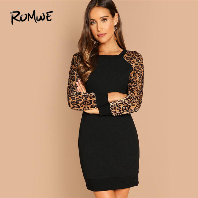 76cae0555a548d ROMWE Black Leopard Raglan Sleeve Sequin Dress Women Autumn Long Sleeve  Casual Clothing Fashion Straight Shift Short Dress