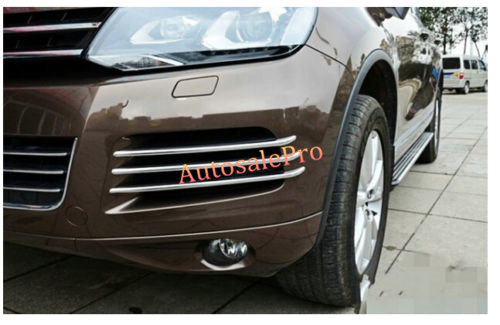 Chrome Mesh grille Grilles cover trim near front fog light lamp For VW Volkswagon Touareg 2011 2012 2013 2014