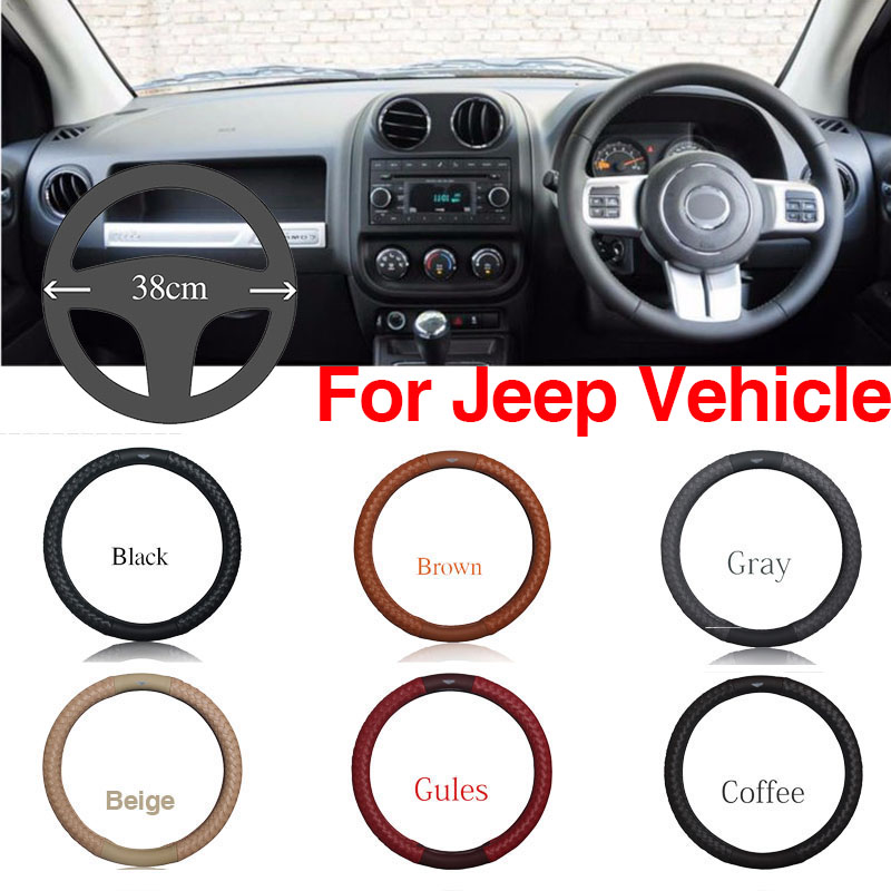 Ipoboo Top PU Leather Diamond weave Plaid Anti-Slip Steering Wheel 6 Colour Choice Cover For Jeep Series Vehicle