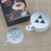 BEEMSK 6pcs/lot Stainless Steel Metal Chocolate DIY Coffee Latte Art Mould Cappuccino Stencils Barista diameter 85mm