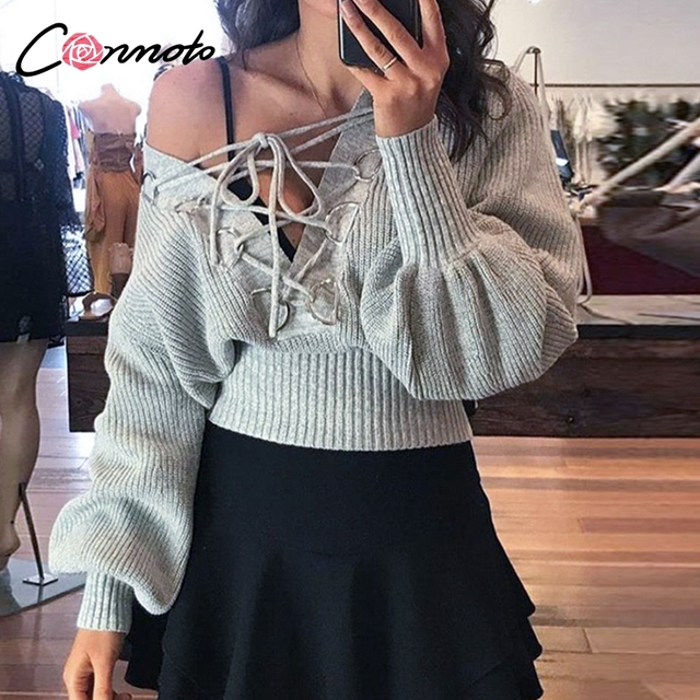 Conmoto Lace Up V Neck Sexy Off Shoulder Solid Knitted Sweaters Women Winter Lantern Sleeve Club Sweater Pullovers Jumpers