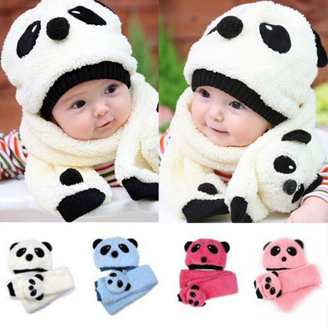 358412d5ce13 Cute Baby Wool Panda Style Cap Children Warm Head Hat Scarf Sets ...