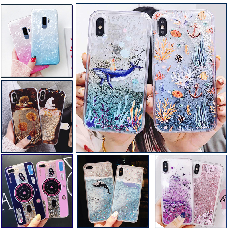 newest e6ca5 c5c3b US $1.67 30% OFF|Aliexpress.com : Buy Liquid Glitter Case For iPhone 7 7 8  6 6s Plus X XR XS Max Cases For Huawei P20 lite pro Case Whale Bear ...