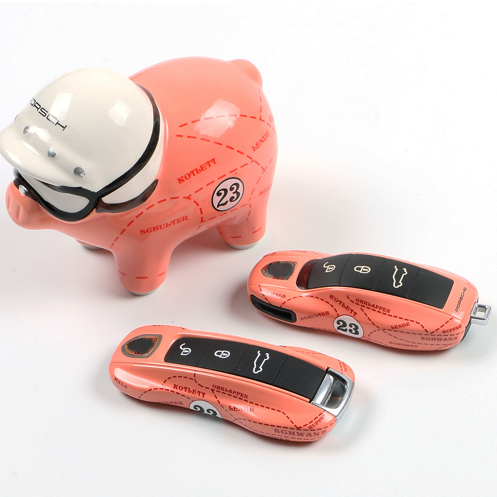 Remote Key Case Key for Porsche Boxster Cayman 911 Panamera Cayenne Macan Cover Modified Key Shell Pink pig series