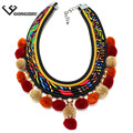 High Quality 3- color Fashion Women Vintage Jewelry Tassels Sphere Choker Collar Pendant Necklaces For Women Statement Necklace