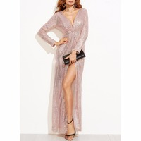 Long Sequin Dress Women Sexy V Neck Zipper Backless Split Rose Gold Sequin Club Party Dress