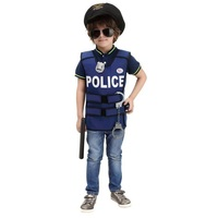 Free Shipping Halloween Game Show New Super Police Cosplay Police Vest Cute BOY Dress Children Performance