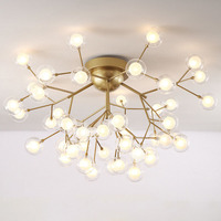Gold Glass Chandelier Round Lamparas Cristal Ball Glass Ceiling Chandelier Lighting Creative Living Room Bedroom Lighting