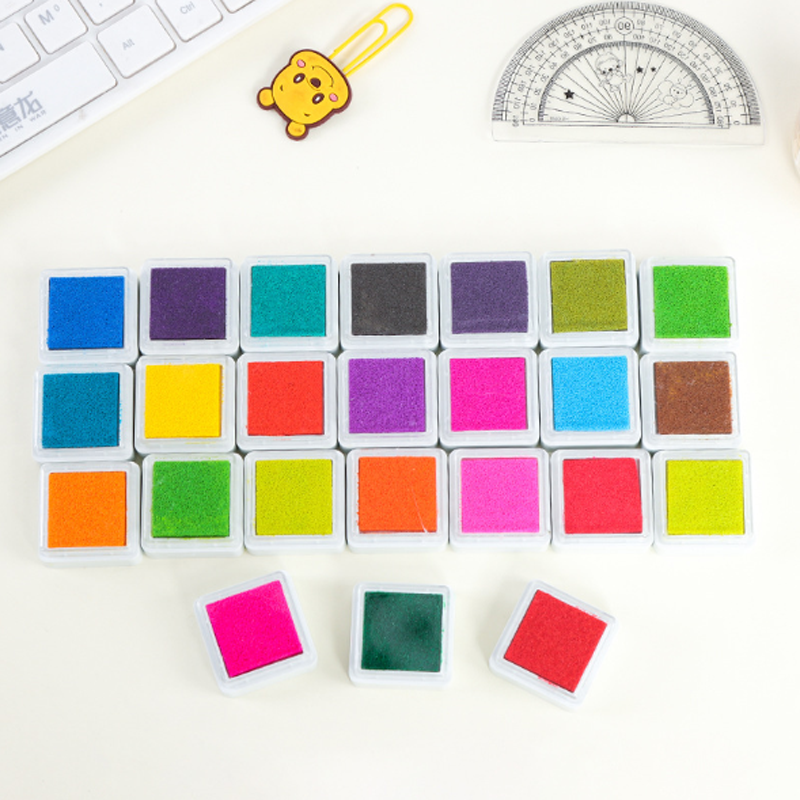 24pcs/set Colorful Inkpad Children's Toy DIY Fingerprint Painting Mud Vintage Crafts Ink Pad For Kids Scrapbooking Accessories