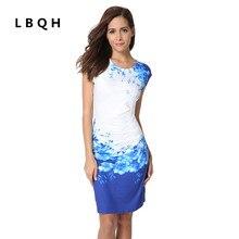 Lbqh новые модные женские летние пикантные с короткими рукавами Брендовое платье высокого качества с принтом эластичные трикотажные ткани женские платье