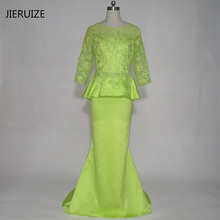 JIERUIZE robe de soiree Green Lace Appliques Mermaid Evening Dresses long Mother of the Bride Dresses Peplum Formal Dresses