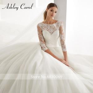 Image 3 - Ashley Carol A Line Wedding Dress 2020 Fashion Scoop Half Sleeve Illusion Court Train Bride Dress Romantic Simple Bridal Gowns