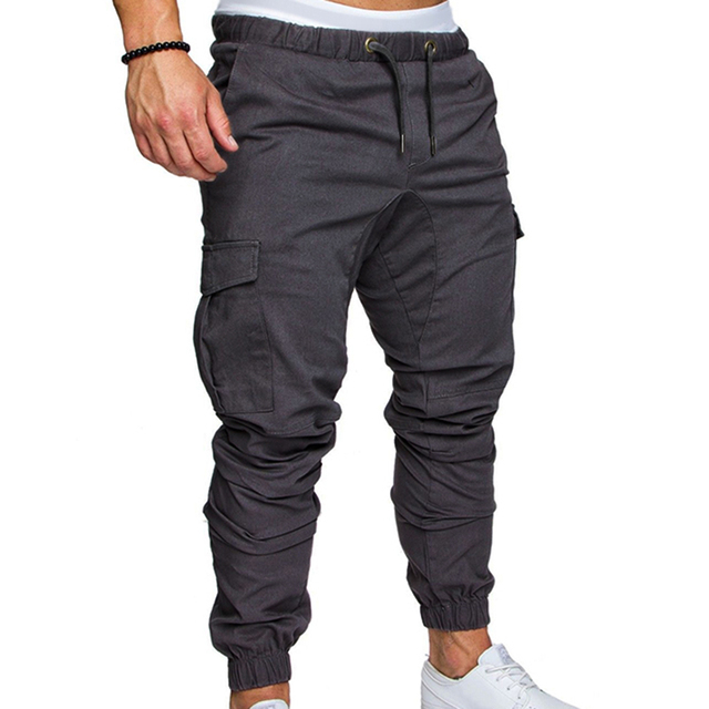 8c209ba2778 Fashion Plus Size New Mens Solid Cargo Long Pants Drawstring Elastic Waist  Side Pockets Casual Army