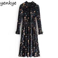 Vintage Spring Women Floral Printed Velvet Dress Lace Up Stand Collar Long Sleeve Pleated Midi Dresses vestido HHWM1329