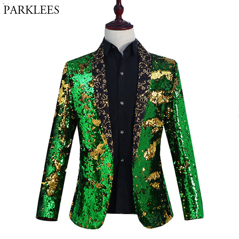 Mens Shiny Green Sequin Gitter Blazer Jacket Men Nightclub Prom Shawl Collar Suit Blazer Men Wedding Stage Costumes For Singers