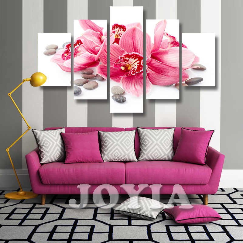 5 Piece Canvas Art Flower Wall Painting Red Lily Canvas Prints, Home Decor Pictures Set, Bedroom Wall Posters No Frame