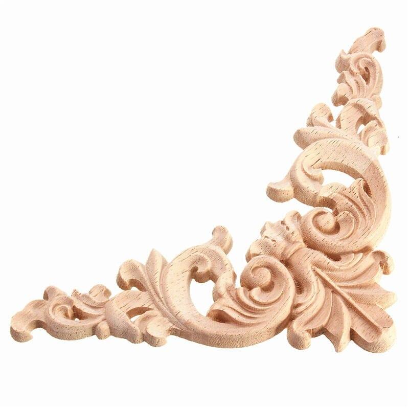 wood furniture appliques. hot sale 1pc 125 x 125cm wood oak carved corner onlay applique furniture unpainted decorative appliques o