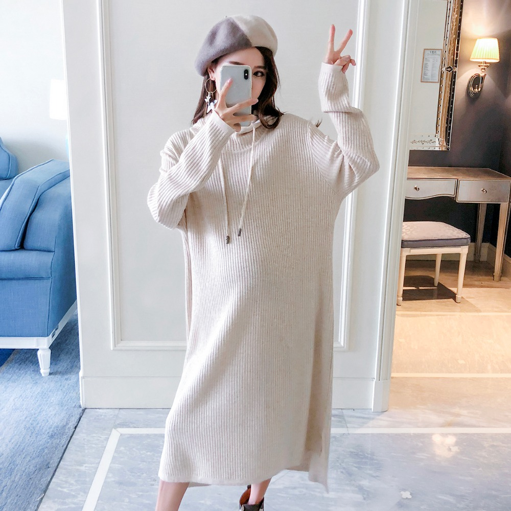 Pregnant women sweater 2018 autumn and winter new fashion long long sleeve pregnancy loose maternity dress hooded sweater maternity sweater autumn and winter maternity clothing plus size long sleeve sweater one piece dress pullover knitted