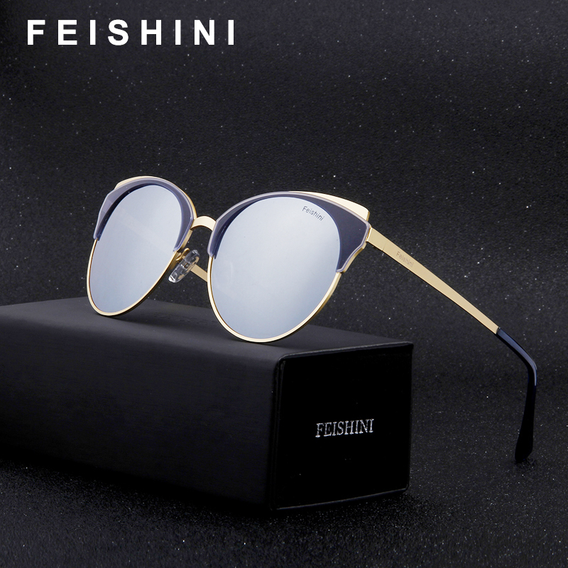 d218b77bf4 FEISHINI Plastic Titanium 28G Polarized Sunglasses Women Cat eye Brand  Designer 2019 Fashion UVb Drive Glasses