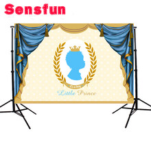 Newborn Little Prince Backdrops for Photography Polka Dots Blue Curtain Baby Shower Backgrounds for Photo Shoot Studio(China)