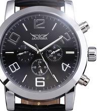 Hombres Mecánicos Relojes Correa de Cuero Relojes de Marca de Lujo de Los Hombres Automáticos 6 Manos Auto Fecha Negro Diales Hombres Hombres Relojes de Pulsera