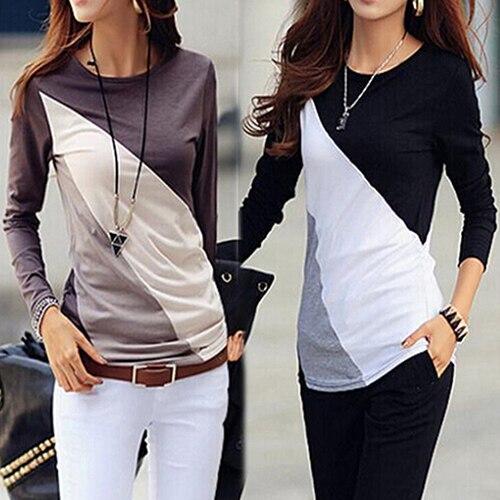 7064ab2be Mulheres Moda Estilo Coreano Outono Slim Fit Bloco de Cor Camisa de Manga  Longa