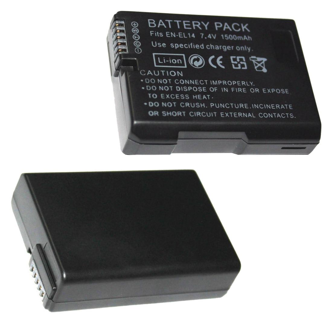 1 pièces 7.4V 1500mAh EN-EL14 Batteries ENEL14 EN EL14 Batterie Pour Appareil Photo Nikon D5200 D3100 D3200 D5100 P7000 P7100 MH-24 Noir