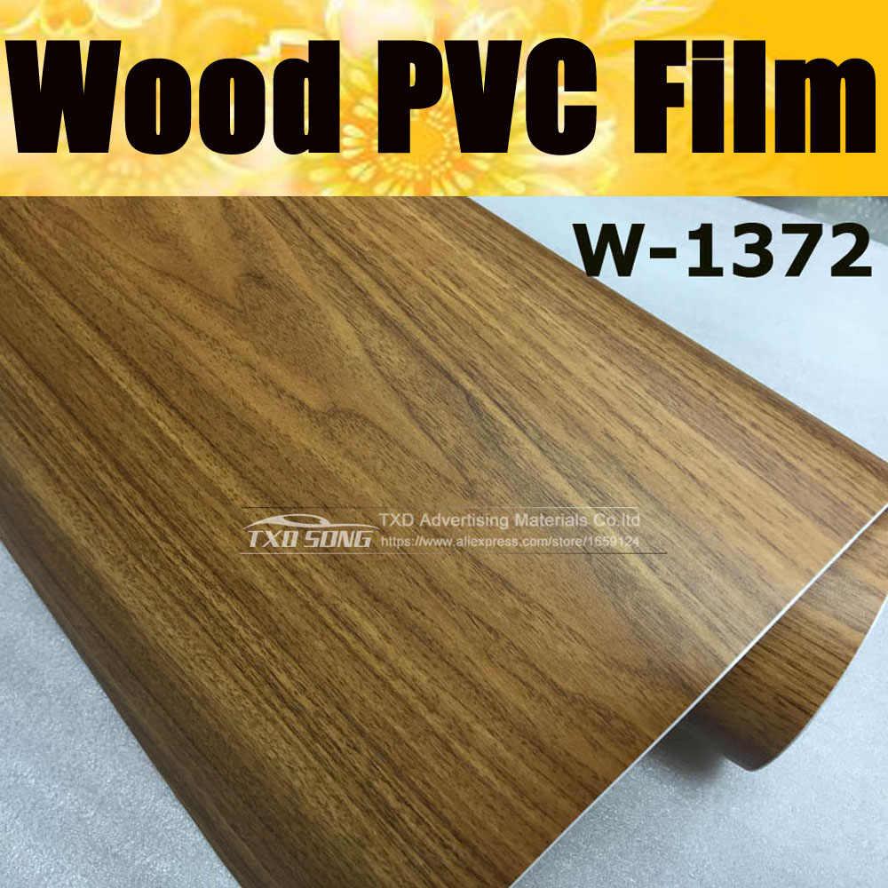 Goede kwaliteit W1372 Hout PVC Graan Sticker Hout VINYL Hout PVC film interne decoratie houtnerf pvc vinyl film Gratis verzending