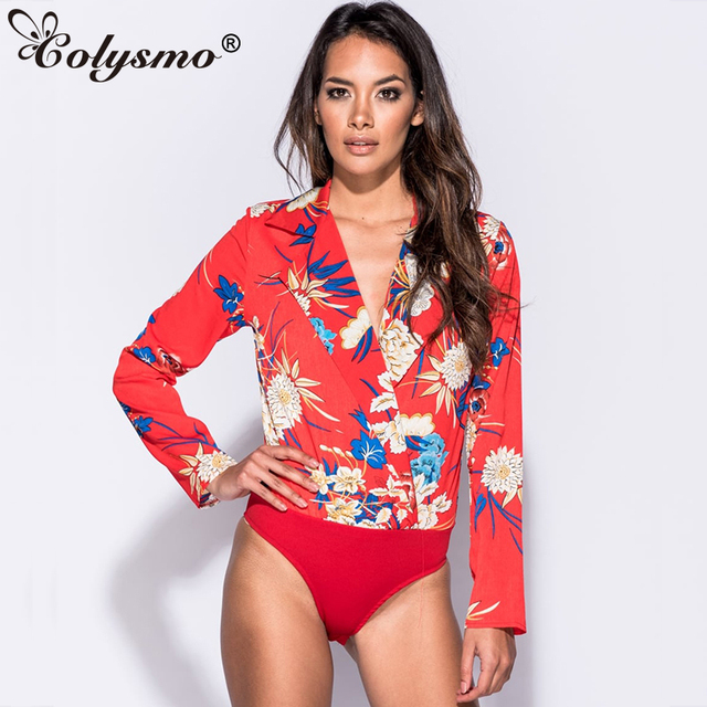 4f8ea9974571 Colysmo Sexy Bodysuit Long Sleeve Jumpsuit Floral Bodysuit Rompers Womens  Jumpsuit Body Feminino Summer Sexy Playsuit Women 2018