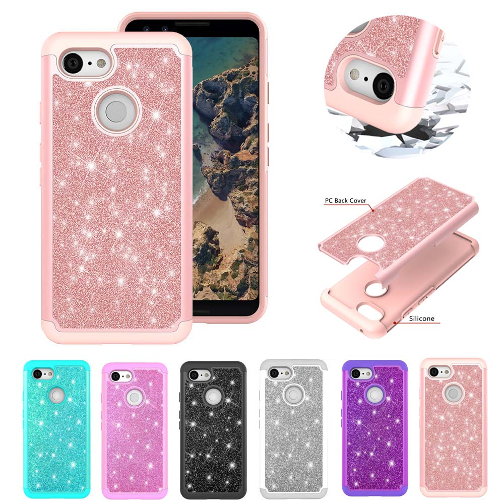 Bling Glitter Case For Google Pixel 3 Armor Hard PC Silicon Cases Soft TPU For Google Pixel 3 XL Luxury Coque Back Shell Capa