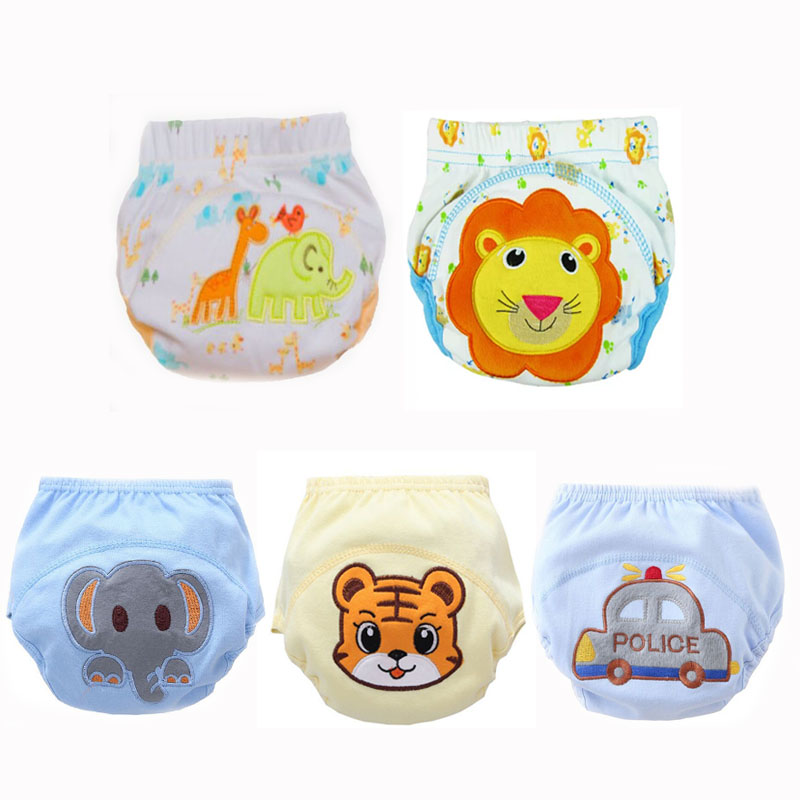 5pcs Boys Cotton  Cloth Diaper Nappies Pants Reusable Washable Baby Diapers Pocket Waterproof Breathable Size 90 For 10-14kg