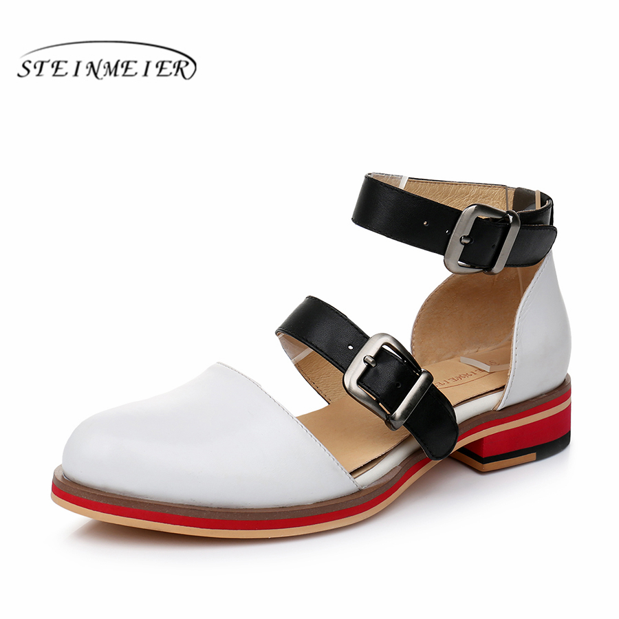 Genuine sheepskin Leather brogue yinzo lady flats Sandals shoes vintage handmade oxford shoes for women blue white 2019 spring women genuine sheepskin leather yinzo shoes vintage flat round toe handmade white sneakers oxford shoes for women 2017