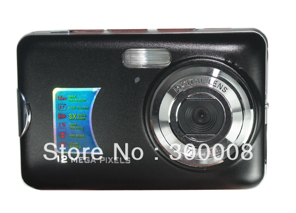 Free shipping for STOCK cheap 12megapixels  Digital photo camera  with  2.7 inch TFT LCD screen and 8X digital zoom