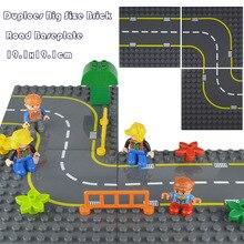 Duploes City Road Street Baseplate 19,1*19,1 см прямая изогнутая строительные блоки крупные частицы Базовая пластина для конструктора для ребенка