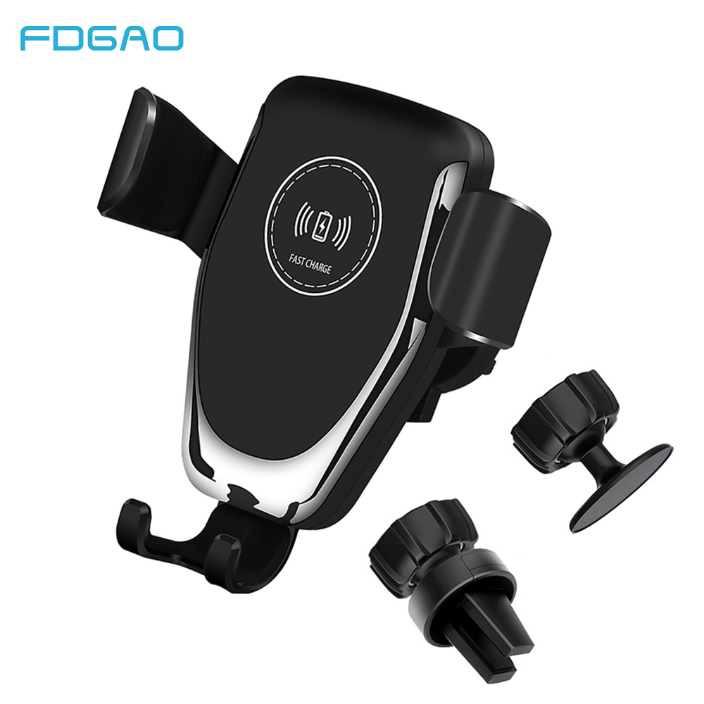 FDGAO Qi 10W Car Wireless Charger for IPhone 11 Pro X XS Max XR 8 Wireless Charging Stand for Samsung S10 S9 Car Charger Holder image