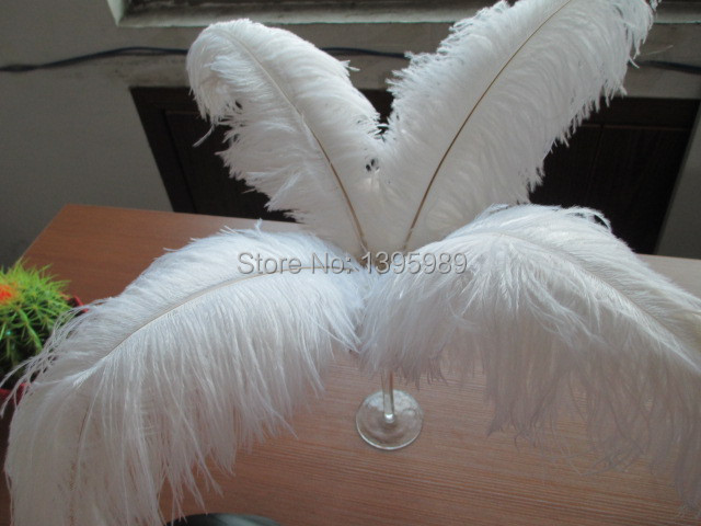 Free shipping wholesale 100pcs white nature ostrich feathers 14-16inch/35-40cm and  variety of decorative stage performances