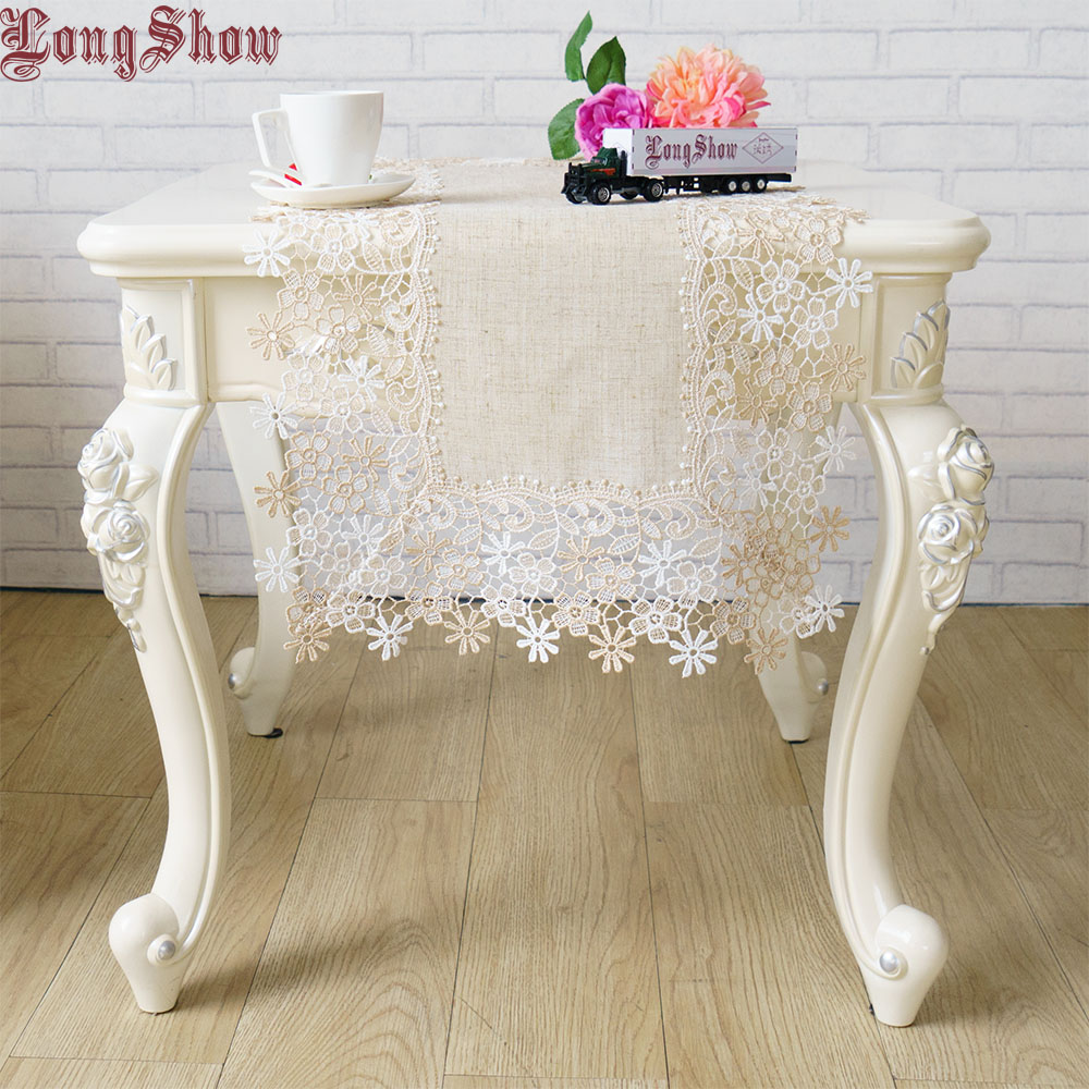 Vintage Style Elegant 40x90cm Lovely 2-Tone Daisy Embroidered Lace Decorative Burlap Linen Fabric Table Runner