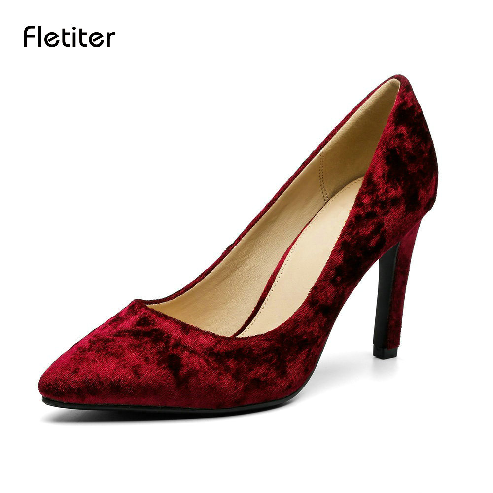 Fletiter Nylon Women Shoes Fashion High Heels Party Pumps Female Pointed Toe Slip On Shallow Shoes Woman Comfortable Footwear high quality women shoes colorful rhinestone shallow mouth high heels mature women pumps round toe slip on party wedding shoes