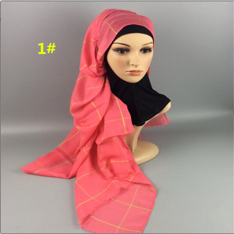 Hot sale plain grid plaid Hijab Maxi Shawls Women solid fringe Scarves muslim head scarf solid