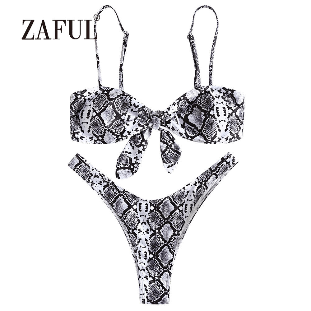 ZAFUL Sexy Snakeskin Bikini Knotted Women Swimsuit Swim Top with Thong Bottoms Swimwear Spaghetti Straps Padded Beazilian Biquni stylish spaghetti straps black cut out women s bikini set