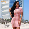 Modphy Rayon Mesh See Through Sexy Evening Party Mini Dresses 2016 New Women Pink Short Sleeves Bandage Dress Dropshipping HL666