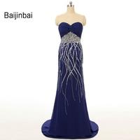 Baijinbai 2018 New Fashion Real Sample Sweetheart Rhinestone Sweep Train Pleating Mermaid Royal Blue Long Prom DressesS110205